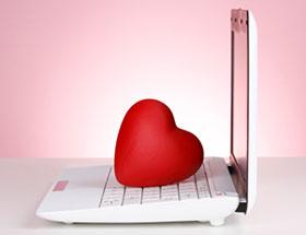 coeur sur laptop